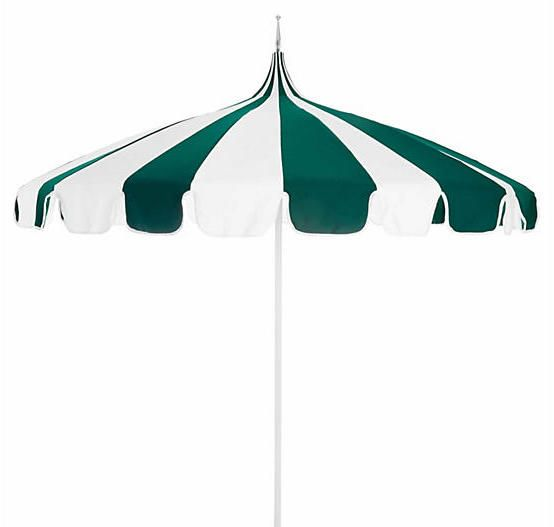 California Umbrella Pagoda Patio Umbrella - Green/White