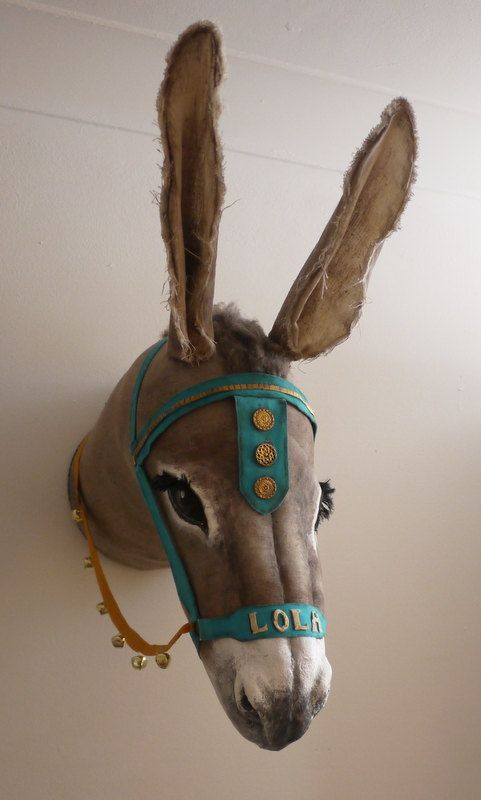 Personalised Seaside Donkey head- fabric taxidermy. Oh my gosh, I would love to have this in my home :)