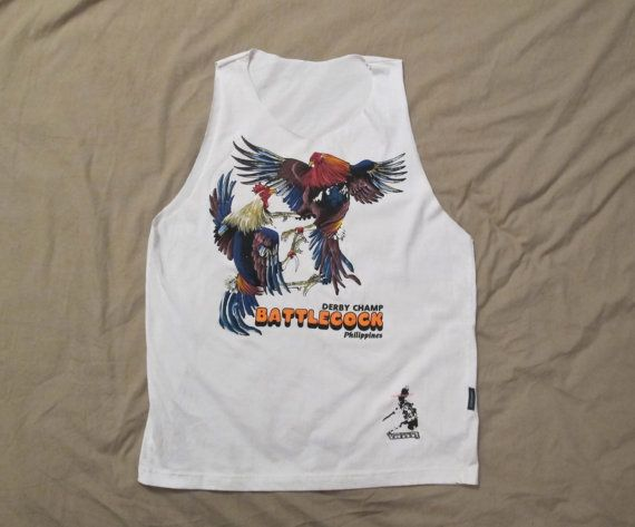 Women 39 s white battle cock fight muscle tee tank t shirt philippines roosters hand painted cute - Cock designing ...