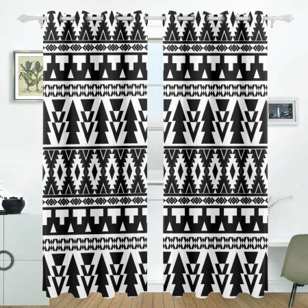 POPCreation Black And White Tribal Pattern Window Curtain Blackout Curtains Darkening Thermal Blind Curtain for Bedroom Living Room,2 Panel (52Wx84L Inches) - Walmart.com