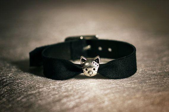 Kitten Play Bracelet Black Leather Bracelet with Cat Charm Women Black Belt bracelet Cute bracelet leather jewerly Gift Daddys girl sex game