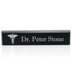 Personalized Black Acrylic Desk Name Plate for Doctors-Mem Gift-$48.00