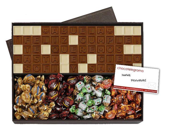 Caja Premium Toffees. Estuche de madera revestido en cuero con Chocotelegrama de 70 chocolatitos más variedad de Butter Toffees.