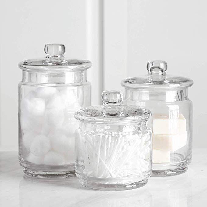 Amazon Com Whole Housewares Clear Glass Apothecary Jars Cotton