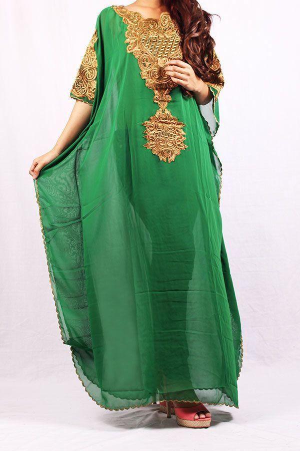 Handmade Green Kaftan Maxi Abaya Moroccan Best Wedding by syahdika