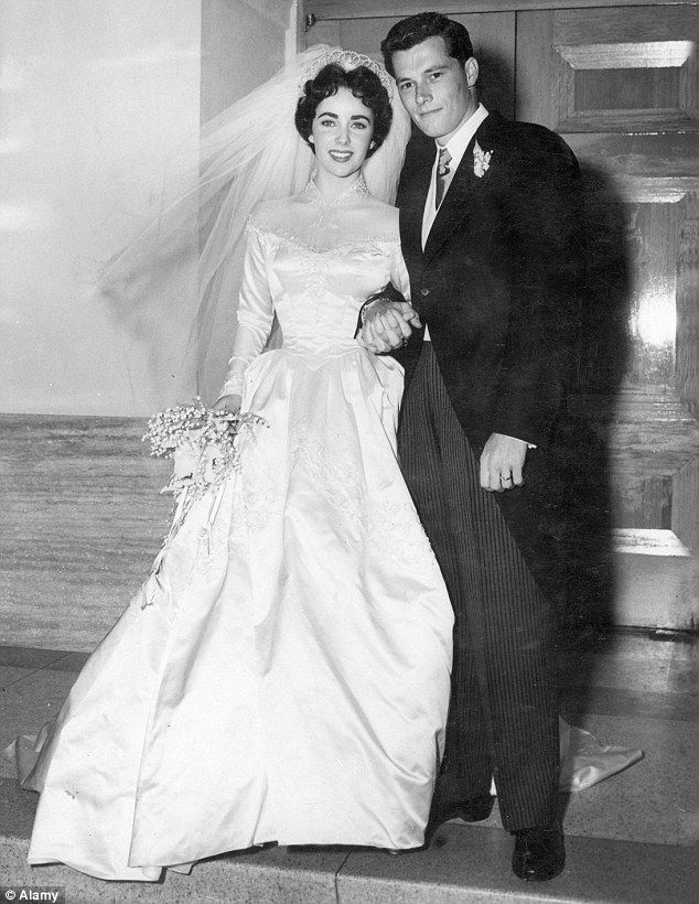 18 year old Elizabeth Taylor's first of eight marriages- hubby #1, Conrad Hilton Jr., 23 on their wedding day May 1950  -Kathy H