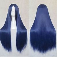 New Women Long Straight Wig Cosplay Party Hair Wig Heat Resistant Full Hair Blue