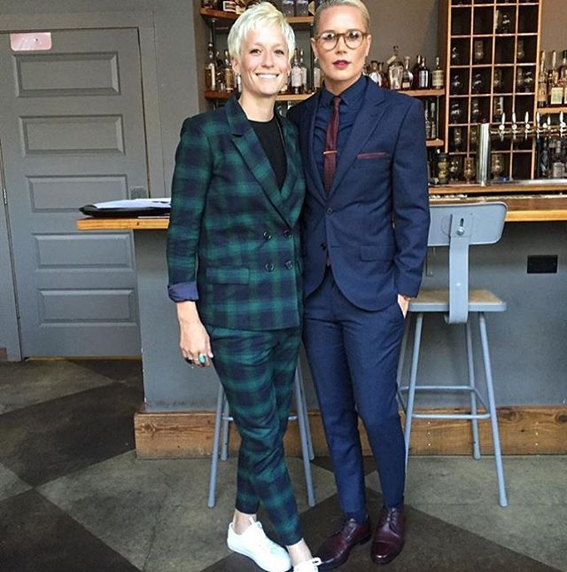 @ashlynharris24 we totally dig your style but we're kinda partial to that plaid Wildfang suit @mrapinoe is rocking!!!!  #wearewildfang ( tap link in profile to shop Megan's look!!!)