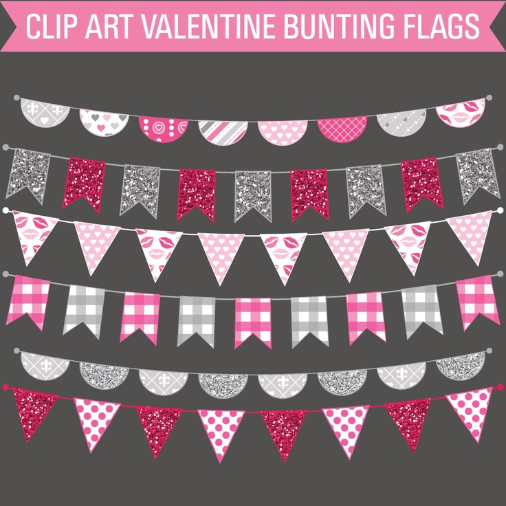 Print Candee - FREE Clip Art Valentine's Day Bunting Flags