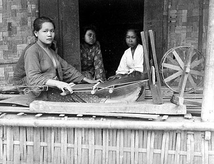 Sudanese Sarong Weaver in Bandung, West Java, Dutch East Indies,1900-1940