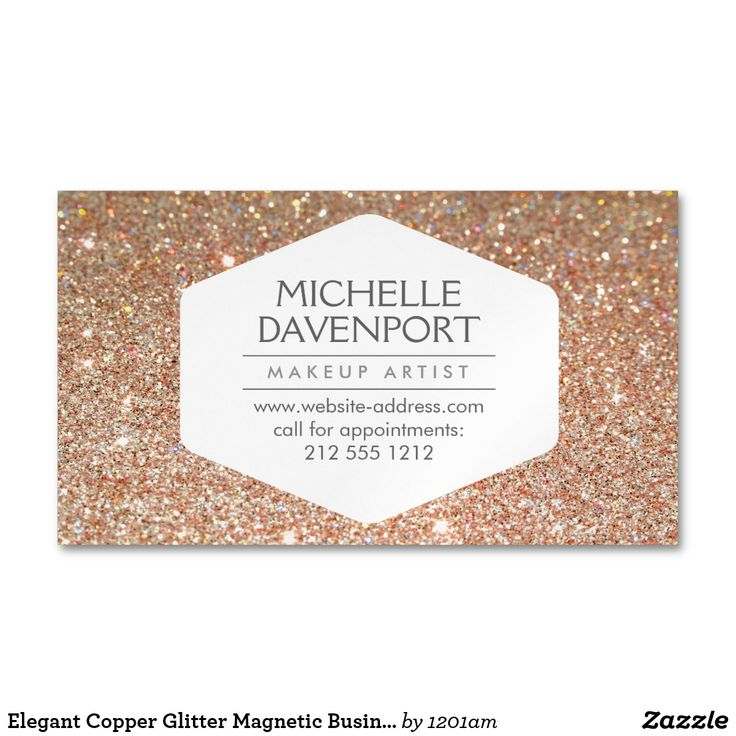 Elegant Copper Glitter Magnetic Business Card Coordinates with the ELEGANT WHITE EMBLEM ON COPPER GLITTER Business Card Template by 1201AM. An elegant and modern white hexagon badge stylishly holds your name or business name while surrounded by a faux glittery pink and gold background. Use these magnetic business cards for giveaways to your clients. Your contact info is prominently displayed… a great reminder to call for appointments! © 1201AM CREATIVE