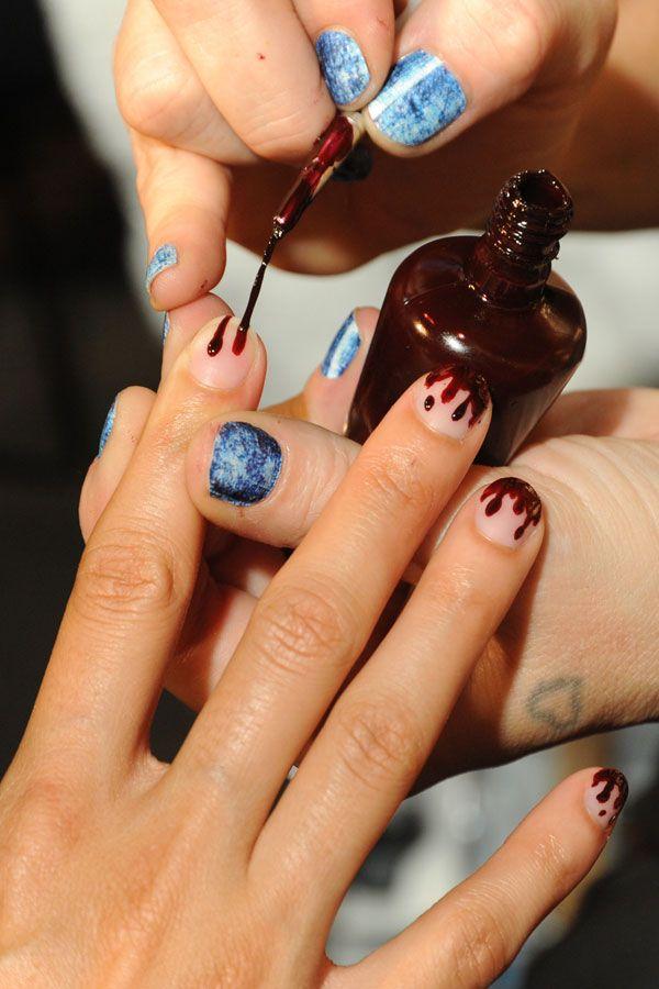 bleeding maniNails Trends, Nails Art, Blood Nails, Sally Hansen, Red Nails, Nails Polish, Prabali Gurung, Spring 2013, Halloween Nails