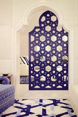 I LOVE the floor and blue wall especially! Contemporary and gorgeous Moroccan