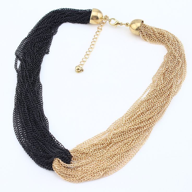 MN185 Fashion Simple Design Tassel Necklace handmade Black/Gold Color New Arrival Party Gift Free Shipping