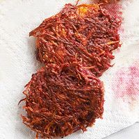 Beet-Carrot Latkes - not sure how this will go over with the family ...