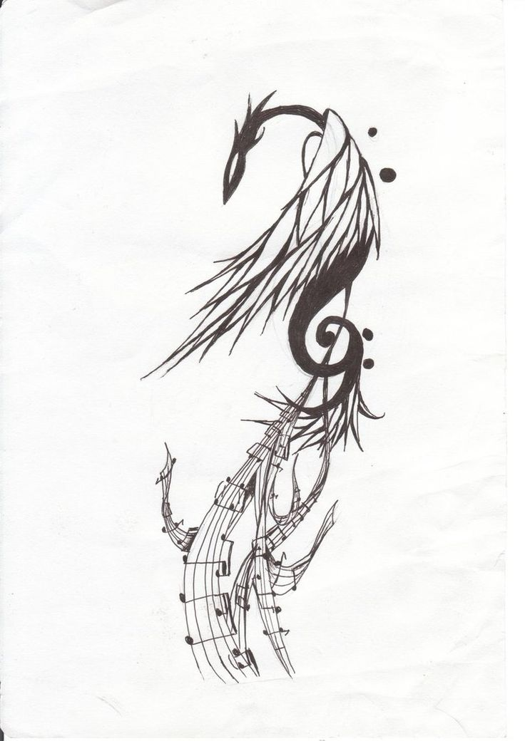 Gorgeous phoenix w/ clef 'n' chords tail tattoo ! By Kythought (Deviantart)