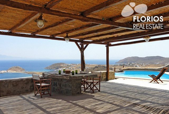 Relax & unwind outdoors, in the spacious sitting areas or the large lounge with built-in couch by the pool. The ideal spot to enjoy the unobstructed view over the Agean sea. FL1041 Villa for Sale on Mykonos island Greece. http://www.florios.gr/en/Villas-For-Sale-Mykonos-Island-Greece.html