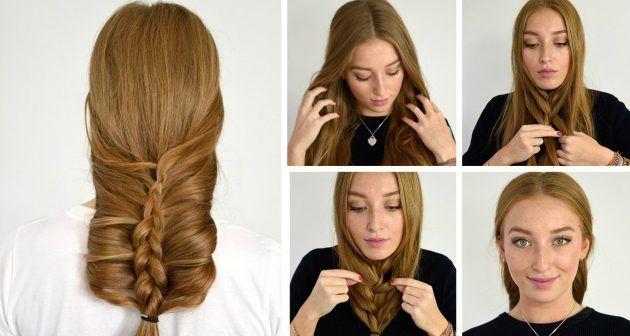 Сделайте вертикальный пробор, разделив волосы на две части. Начните плести французскую косу под подбородком, добавляя постепенно всё более крупные пряди. Когда дойдёте до конца, зафиксируйте косу резинкой. Теперь проделайте небольшой трюк: возьмите косу за кончик и перекиньте через голову на затылок.