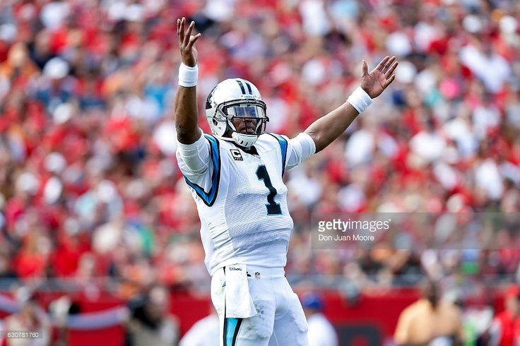 Quarterback Cam Newton #1 of the Carolina Panthers celebrates a touchdown during the game against the Tampa Bay Buccaneers at Raymond James Stadium on January 1, 2017 in Tampa, Florida. The Buccaneers defeated the Panthers 17-16.