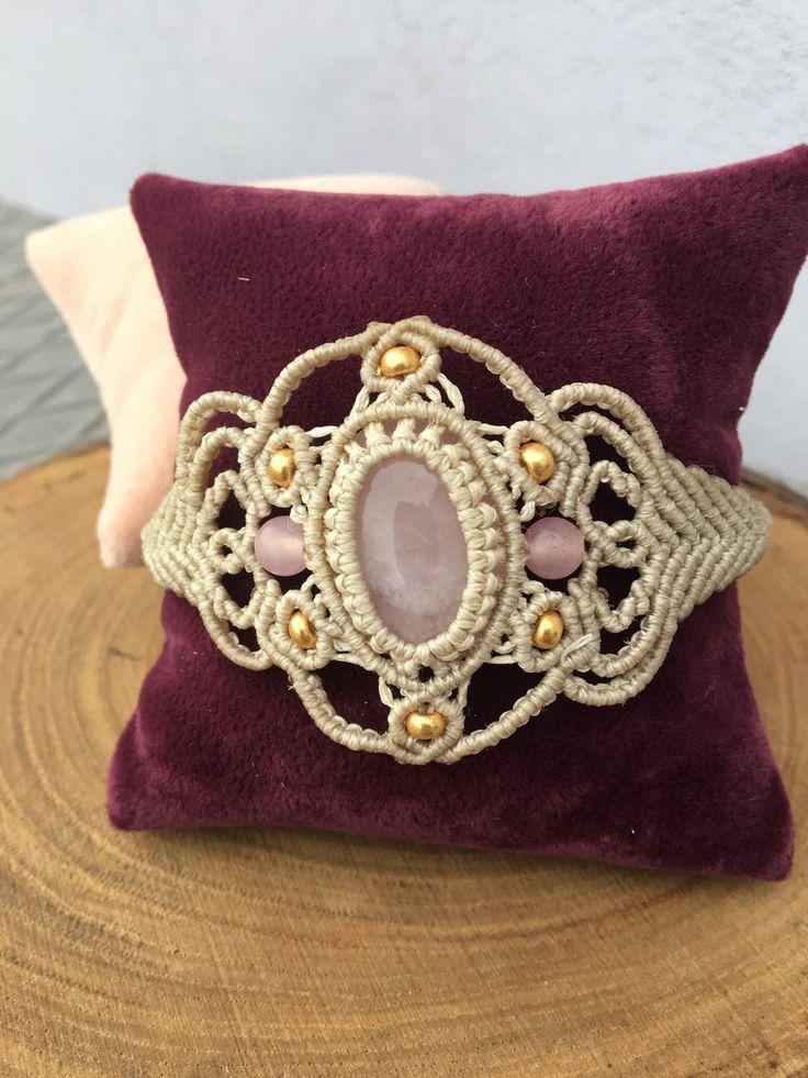 Macrame bracelet ,Pink quartz bracelet  , Bohemian bracelet by BohemCrafts on Etsy https://www.etsy.com/listing/563405738/macrame-bracelet-pink-quartz-bracelet