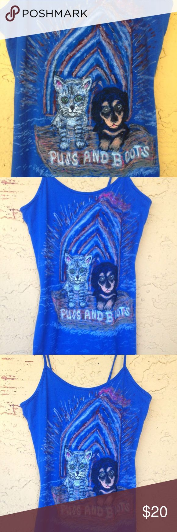 Dog And Cat Tank Top We hand drawn designs on T-shirts, Sweatshirts, Tank Tops and Cami Tank Tops. We will draw just about any design you want from your dogs, cats, horses, fish, nature, beaches etc. If you are looking for a specific design all we need is you to send us a message with the size, color of the clothing and a photo of what your looking to have us design.   We have this cute hand drawn Tank Top that features an adorable Dachshund and Cat setting sail for adventure. Brand New Tank…