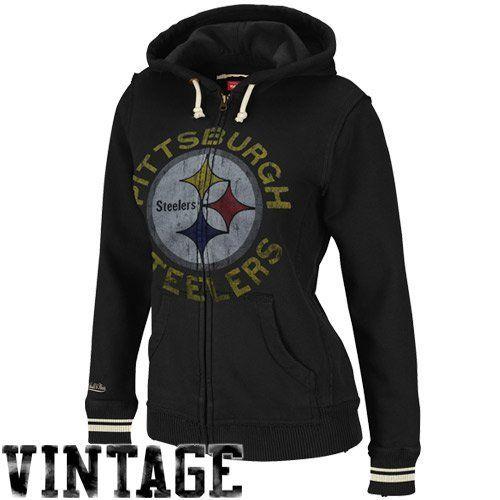 Amazon.com  NFL Mitchell   Ness Pittsburgh Steelers Ladies Black Vintage  Full Zip Fleece Hoodie Sweatshirt (X-Large)  Clothing 114ec9ba0