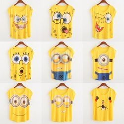 Online Shop womens t shirts fashion summer 2015 casual tshirts yellow Spongebob and Despicable me print Thin style t-shirt women tees tops|Aliexpress Mobile