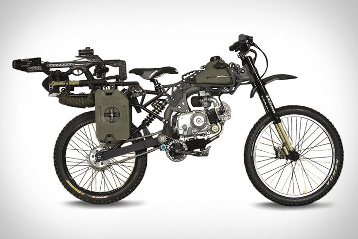 Motoped Survival Bike: As for the survival part? Well, it also comes outfitted with a crossbow, one-gallon gas pack, a survival shovel, a tomahawk, a harpoon, a fixed blade saw, a lighting system, carabiners and climbing rope, a flashlight, a multifunction knife/light, two multi-tools, a neck knife, and a bike mount for that most versatile of tools, your smartphone.
