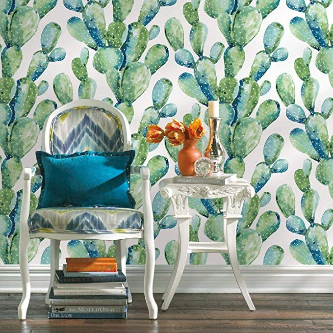 Amazonsmile Roommates Prickly Pear Cactus Peel And Stick Wallpaper Blue Home Improvement Peel And Stick Wallpaper Blue Prickly Pear Blue Cactus