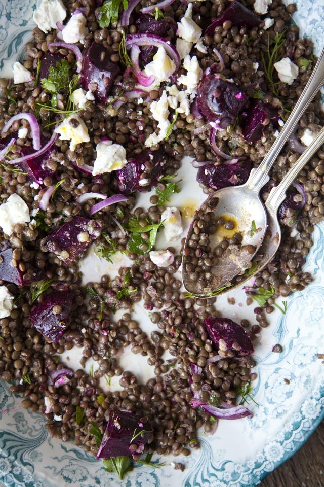 Beetroot Feta and Lentil Salad