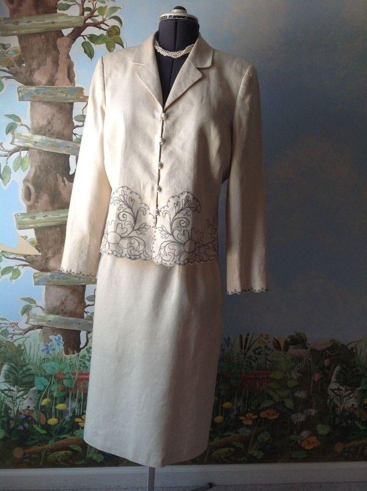 Kasper Long Sleeve Cream Embroider Women's Skirt Suit 100% Linen Size 16 #Kasper #SkirtSuit