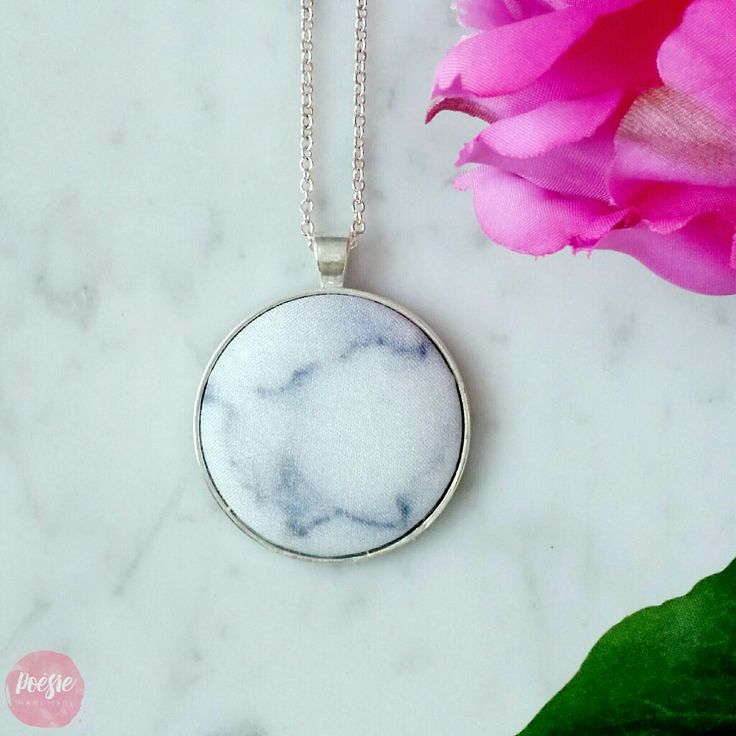 MARBLE NECKLACE • Handmade Original Design Fabric Button Jewellery • Available from www.poesiehandmade.com
