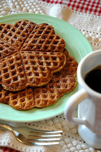 Gingerbread Waffles- Yumm. Now I need to find that heart shaped waffle iron lol