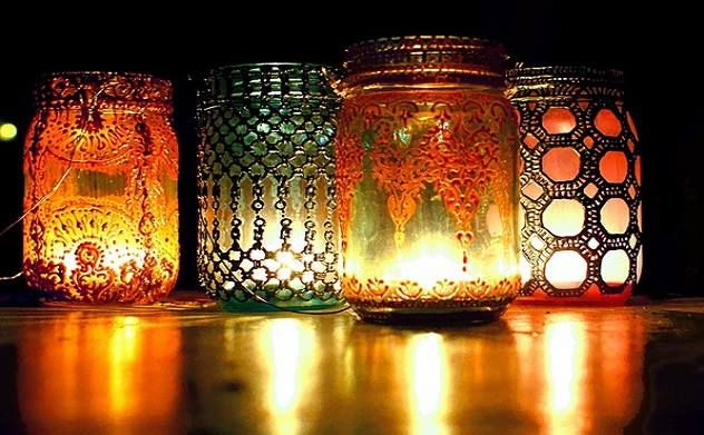 beautifully decorated jars