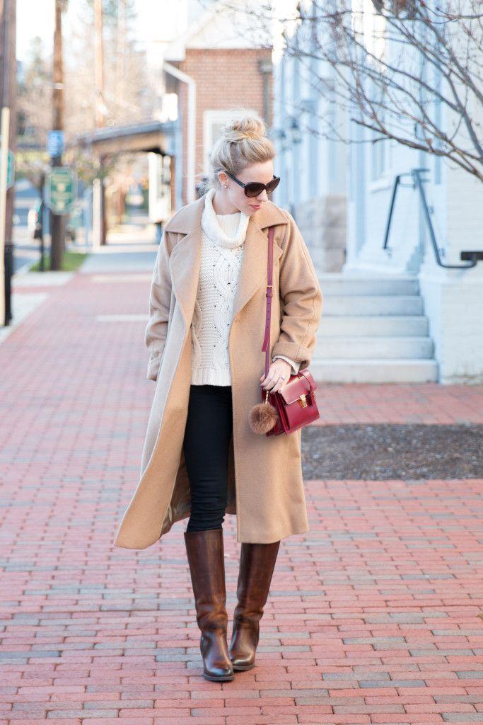 { Camel & Cream: Wrap coat, Turtleneck sweater & Riding boots }