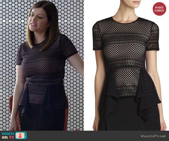 Annie's black mesh peplum top on Marry Me.  Outfit Details: http://wornontv.net/43782/ #MarryMe