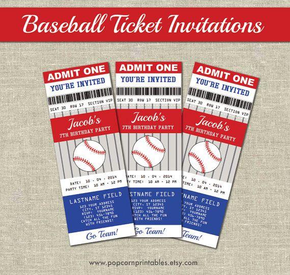 Baseball Ticket Invitations- Printables- Editable Text PDF ...