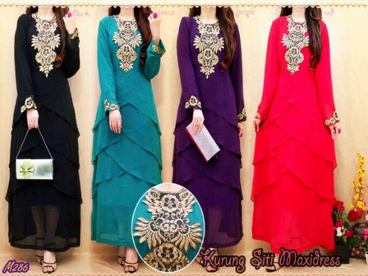 Busana Muslim (GAMIS) - Kurung Siti Maxi Dress Kode Baju : M286 Harga : 205,000 IDR Model Pakaian : Kurung Siti Maxi Dress Jenis Bahan : Chiffon Tumpuk + Bordir (+Inner) Ukuran : (Free Size / Fit to XL) --- Contact : Deni - 083815838155/768FF8FA