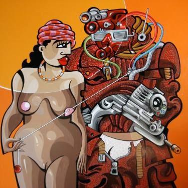 "Saatchi Art Artist Alfredo Lopez; Painting, ""asman and chip"" #art"