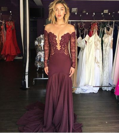 Sexy Lace Long Sleeve Prom Dress,See-through Prom Dress,Grape Evening Gown,PD1954
