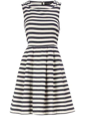 Striped dressStripes High, Fashion, Spring Dresses, Navy Stripes, Red Shoes, High Neck Dresses, Dorothy Perkins, Blue Stripes, Stripes Dresses