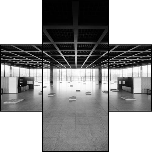 de/berlin/lmvdr nng/15 by Hagen Stier, via Flickr    Neue Nationalgalerie, Berlin   by Ludwig Mies van der Rohe in 1968    A crosswise photomontage taken on a 3 meter high aluminium ladder.   © 2005 Landesbildarchiv Berlin, all rights reserved.