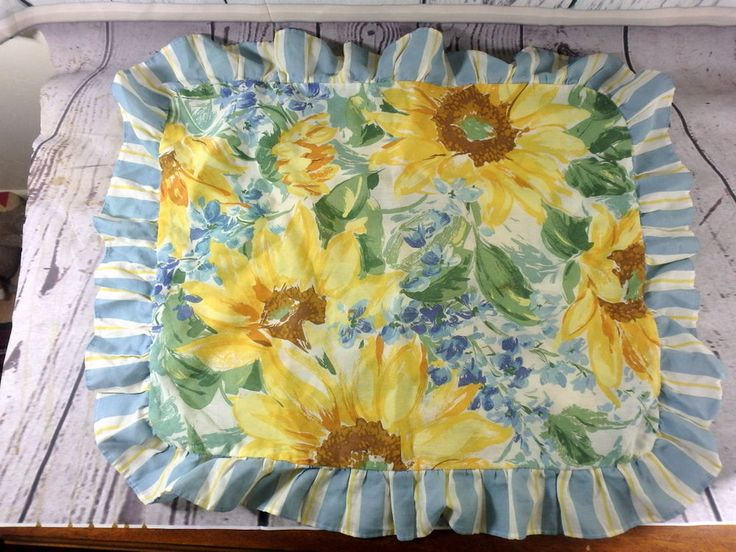 Sunflower Floral Pillowcase Sham Blue and Yellow Made in USA  | eBay