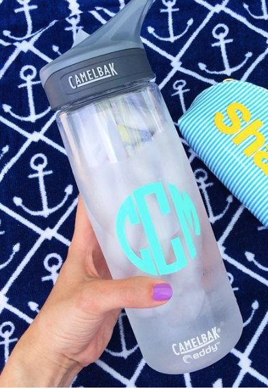 Monogram Camelbak Waterbottle by WhiteElephantMonogrm on Etsy, $21.00 (I don't even like monograms that much but I keep on losing my water bottles and it looks gross when I write my name on it)