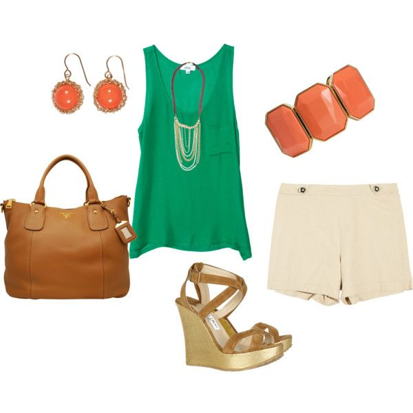 : Fashion Summer, Colors Combos, Dreams Closet, Summer Boats, Summer Style, Green Coral, Colors Combinations, Summer Outfits, Green And Orange