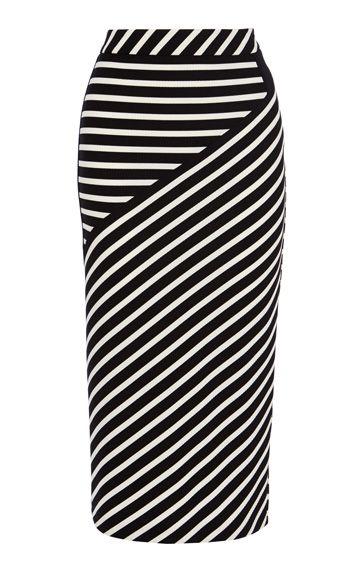 Striped jacquard jersey midi skirt