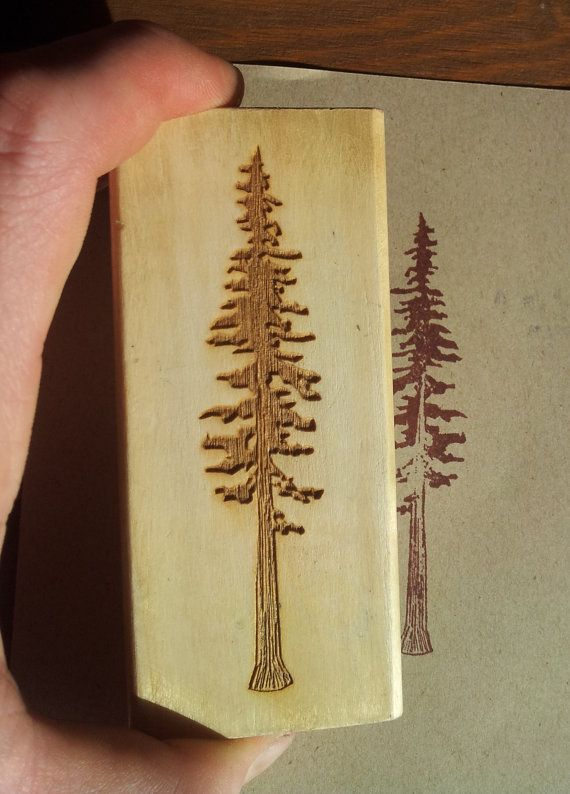 #Redwood #Tree #Laseretched #Natural #Rubber #Stamp by @Biomorphics, $6.50+