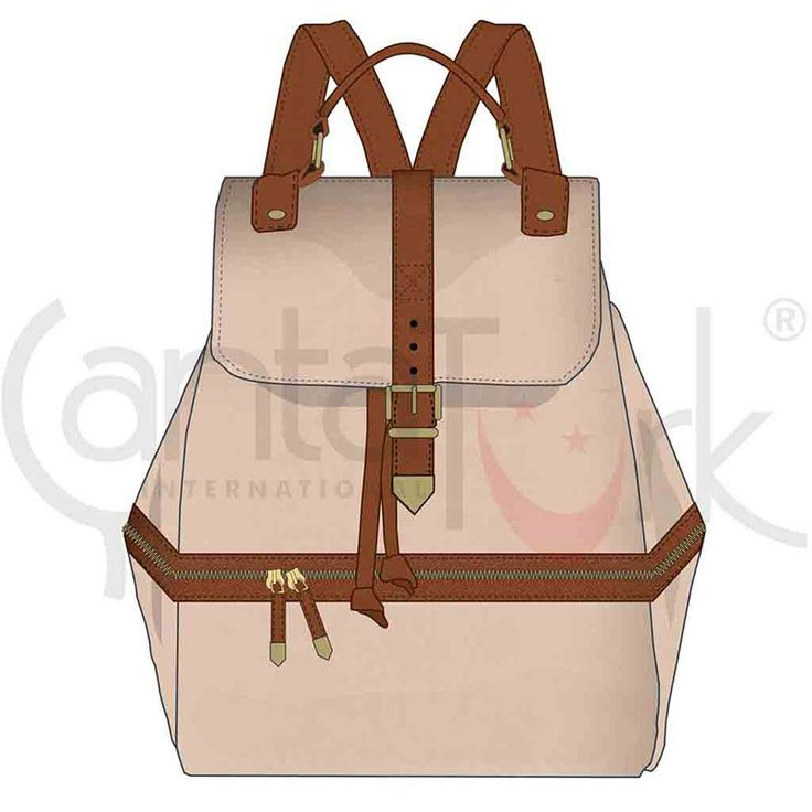 Backpack in beige and brown PU inspired in constrast and simplicity