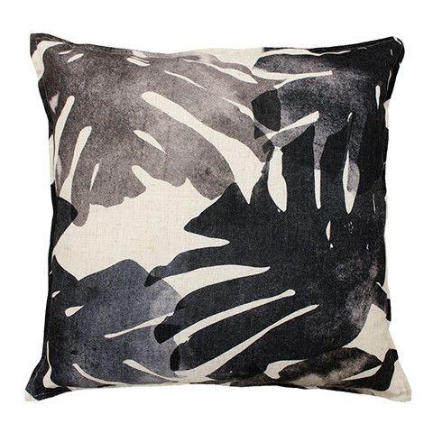 Monstera Charcoal Cushion 50 cm cotton dark grey black leaf