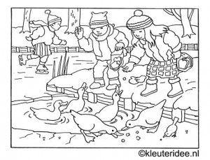 kleurplaat eendjes voeren in de winter, kleuteridee.nl .